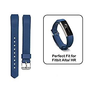 MASKED Replacement Wristband Silicon Strap with Adjustable Buckle for Fitbit Alta Band/ HR (Dark Blue)