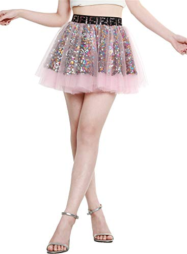 Berylove Damen Tüllrock Mini Tanzrock Festliche Glitzernd Pailletten Petticoat Pink XS