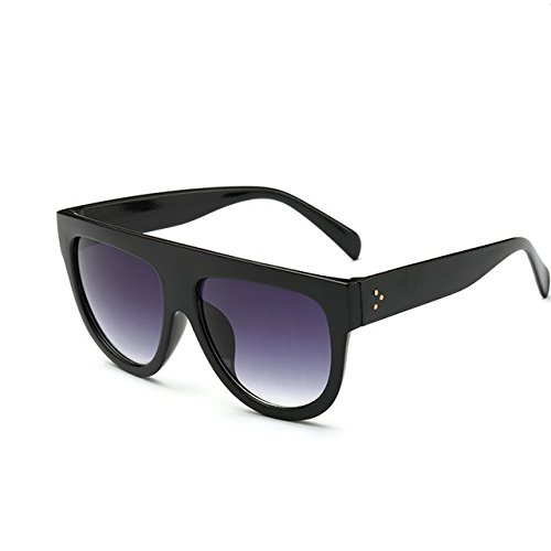 tocoss (TM) Flat Top Spiegel Sun Glasses Cat Eye Sonnenbrille Frauen Französische Marke Design Oculos de Sol Vintage Sun Glasses weiblich Stift Shades, schwarz