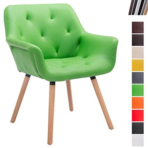 CLP Esszimmerstuhl Cassidy mit Kunstlederbezug und sesselförmigem Sitz I Retrostuhl mit Armlehne Grün, Gestellfarbe: Natura -