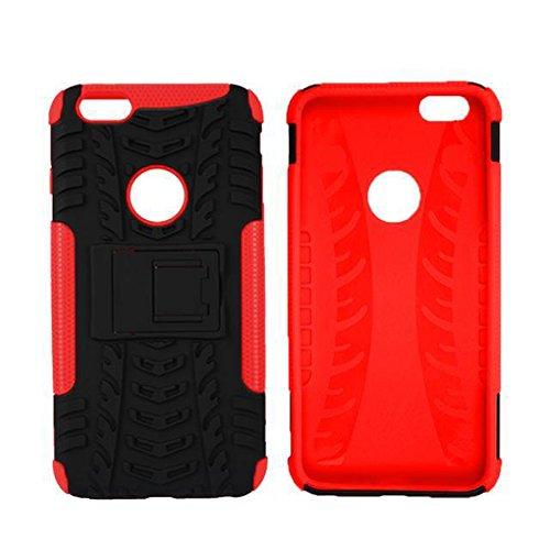 """MOONCASE iPhone 6S Coque, Double Couche d'Armure Lourde Case Hybride Anti-dérapante Absorbant Chocs Protection Étui avec Béquille pour iPhone 6 / 6S 4.7"""" Rouge Rouge"""