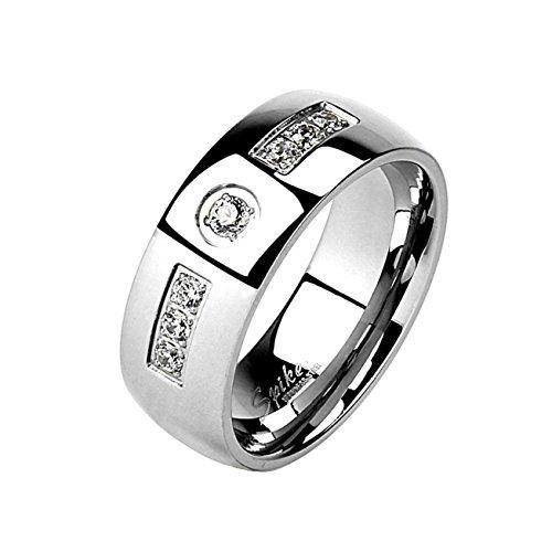 Paula & Fritz® Ring aus Edelstahl Chirurgenstahl 316L Silber 6mm breit mit EIN.