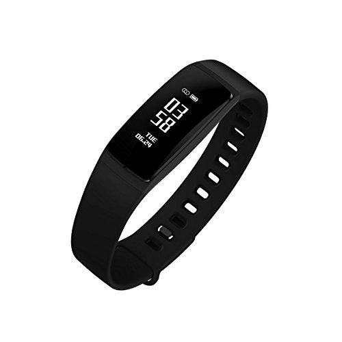 Fitness Tracker, Schritt-Marke Sleep Monitor, Sport Activity Tracker Armbanduhr, Call erinnern Nachricht Push Smart Armband für Frauen, Männer, Erwachsenen, Kind, kompatibel mit Android und iOS Handy, Schwarz