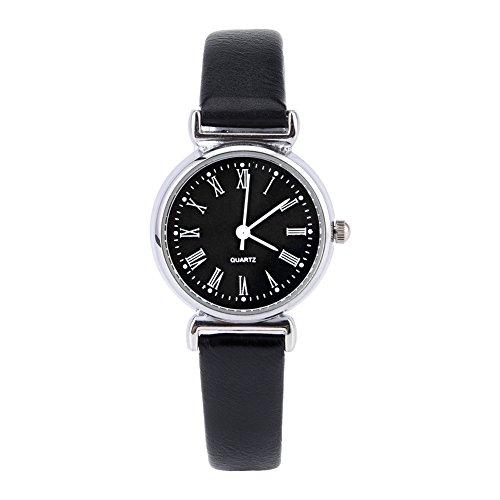 Montres pour les femmes, exquise petite robe de mode simple montre rétro en cuir Mini montre-bracelet(Black Dial)