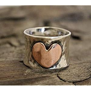 925 Sterling Silber Ring, großes Herz Designer Ring, Unisex Ring, Statement Ring, Partywear Ring für Liebesgeschenk für Frauen