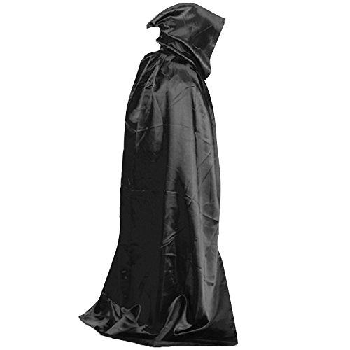 Capucha Capas,Vococal 1,5m Largo Capas Halloween Muerte Diablo Vampiro Drácula Capa / Wicca Robe / Capa de Tippet / Disfraz de Disfraz / Capa con Capucha para Mujeres Hombres Fiesta Disfraces (Negro)