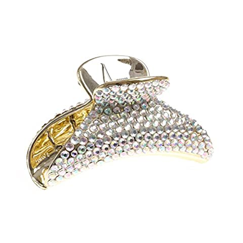 Claire's Women's Metallic Diamante Hair Claw in Gold/Silver