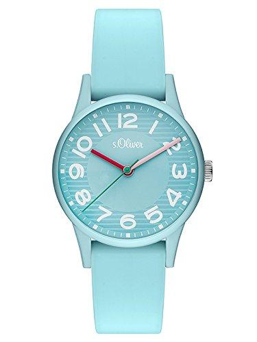 s.Oliver Damen Analog Quarz Uhr mit Silikon Armband SO-3517-PQ -