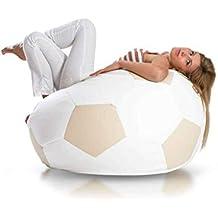 JUSThome Pelota de fútbol XXXL Puff Cojín Gigante de piel ecológica Color: Beige