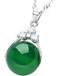 2ece2a33883c Collar de plata con colgante de piedra de jade verde redonda