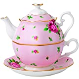"Royal Albert 0,49 litro de porcelana fina Tea Party ""New Country Roses rosa"" de tetera y taza, juego de 1, blanco"