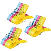 Vicloon 12Pcs Pinzas de Toalla de Playa Grande Fuerte Clips Plástico,Resistente Clips Brillante Color