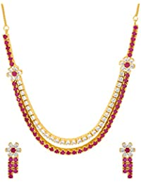 Voylla Gold Plated Floral CZs Studded Necklace Set For Women