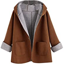 Fabal Women Winter Casual Retro Horn Button Solid Long Sleeve Lamb Skin Jacket Coat Outwear