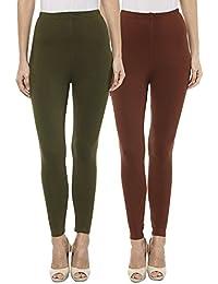 Sakhi Sang Leggings Pack of 2 : Olive Green & Chocolate Brown