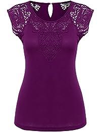 152a6de84c407 Zeagoo Damen Kurzarm T-Shirt aus Floral Spitze Basic Shirt Spiztenshirt  Tunika Baumwolle Tops Hemd