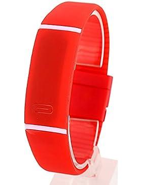ROMANTIC BEAR Women Men Fashion Sport Silicone Band Red LED Digital Wrist Watch