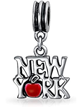 New York rot Emaille Apple baumeln Charm Perle Silber