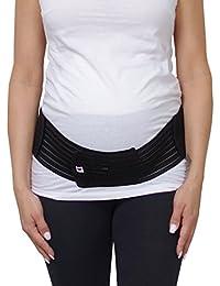 Herzmutter Bauchgurt-Schwangerschafts-Stützgürtel-Bauchband mit Verstellbarem Klettverschluss für Schwangerschaft-Gymnastik-Yoga-Sport, für Damen, Beige-Schwarz-Rosa (3200)