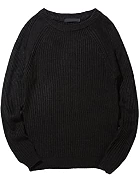 Zhhlaixing Clásico Fashion Mens Long Sleeve Jumper Sweater Basic Round Neck Sweatshirts