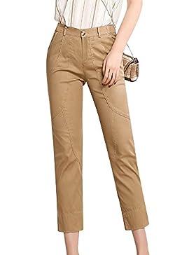 Tallas Grandes Mujer Casual Pantalones Rectos Elasticos Capri Pantalon Slim