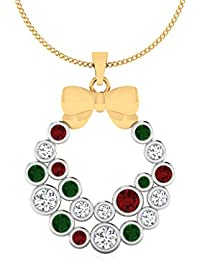 IskiUski  Yellow Gold, Diamond And Ruby Pendant For Women - B075S8Y1VV