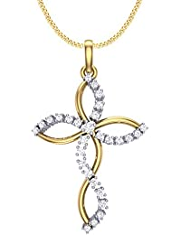Clara Silvo 18K Gold Plated Sterling Silver Faith Pendant With Chain For Women And Girls