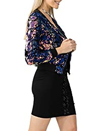 Missmister Womens Ladies Long Sleeve Evening Party Two Tone SEQUIN BOMBER JACKET