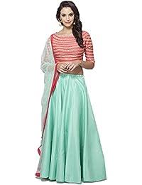 Shree Rang Creation Red&Sky_blue Taffeta Silk Designer Lehenga Choli(AFL-35_Sky_Blue_Free_Size)