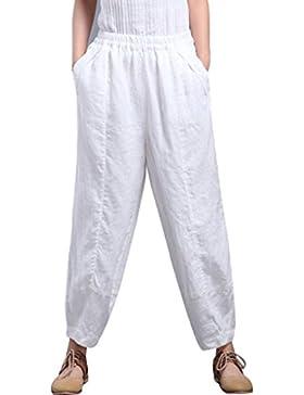 Youlee Mujer Cintura Elástica Lino Pantalones con Bolsillos