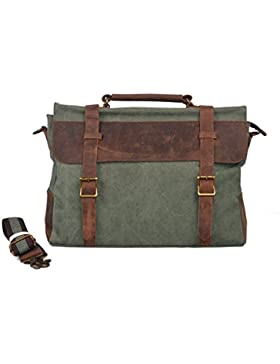 Y-DOUBLE Vintage Messenger Bag Umhängetasche Aktentasche Schultertasche 14 Zoll Laptoptasche Notebooktasche aus...