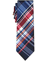 cravate soie tartan pattern blue w red