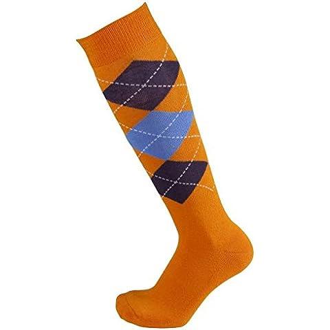 PFIFF - Calze a scacchi per equitazione misura: 37-39; colore: arancione/blu scuro/blu