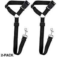 Docamor Adjustable Dog Seat Belt Dog Harness Pet Car Vehicle Seat Belt Pet Safety Leash Leads Dogs/Cats Adjustable From 18 To 30 Inch Nylon Fabric Material Carnation (Black)