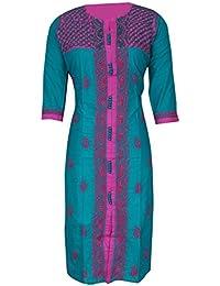 Lucknow Chikan Handcrafted Regular Wear Cotton Kurti Kurta By ADA (A232405_Sea Green)