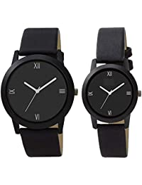 HARMI CREATIVE New Designer Slim Analogue Black Dial Valentines Day Gift Couple Combos Set of Mens &Women's M-699 (Popular of Slim Black Dial & Belt Super Quality of Couple Combos Pack of 2)