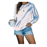 Zimaes المرأة طويلة الأكمام بلوزة البلوز التعادل صبغ أبلى المحملات قميص ازرق فاتح XX-Large