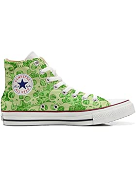 Converse All Star zapatos personalizadas Unisex (Producto Artesano) Green Skull