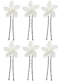 Horquilla De Encaje De La Boda Del Baile De Imitación Broches Para El Pelo De La Flor De La Perla Clip Nupcial Blanco