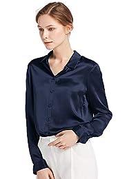 f4225ac688db05 LilySilk Damenbluse Seide Langarm Hemdbluse Oberteil Shirts Damen Kentkragen  von 22 Momme Verpackung MEHRWEG