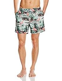 Miami Beach Swimwear Herren Badeshorts mit Flamingo-Print