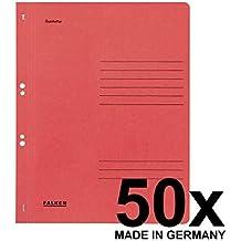 Original Falken 50er Pack Ösenhefter. Made in Germany. Aus Recycling-Karton mit ganzem Vorderdeckel, kaufmännische und Behördenheftung für DIN A4 rot Hefter Sammelmappe Blauer Engel