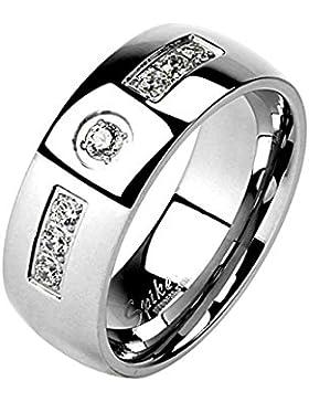 Paula & Fritz® Ring aus Edelstahl Chirurgenstahl 316L silber 6 – 8mm breit mit eingelassenen Zirkonia und Zirkonia...