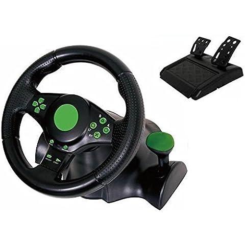 Kabalo Gaming Vibration Racing Steering Wheel (23cm) and Pedals for XBOX 360 PS3 PC USB [Juegos vibración compite con el volante (23 cm) y Pedales para XBOX 360 PS3 PC