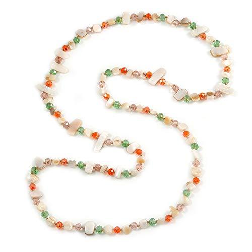 Unbekannt Avalaya Halskette Glaskristall Weiß Muschel Orange Grün Pink 115 cm L