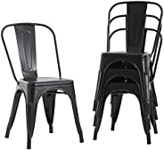 FDW Metal Dining Chairs Set Of 4 Indoor Outdoor Chairs Patio Chairs Kitchen Metal Chairs 18 Inch Seat Height R