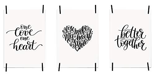 myprinti® 3er Set Bilder Sprüche Poster Kunstdruck Liebe Love | Schlafzimmer Bett Wohnzimmer | Wanddeko Deko | Größe DIN A5 | One Love one Heart, Make My Heart Smile, Better Together - Groß-poster-bett