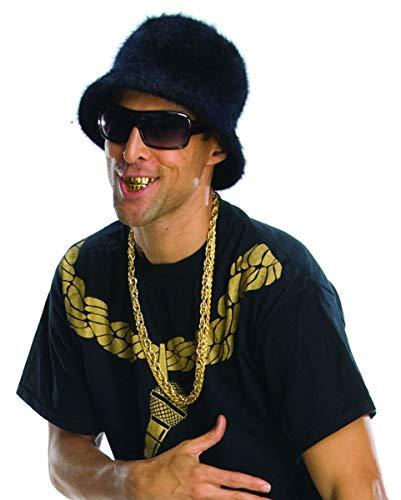 Horror-Shop Gold Grillz Acryl Rapper Zähne für - Gold Zahn Kostüm