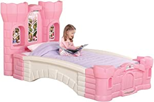 Step 2 Princess Palace Twin Bed For Girls - Kids Durable Plastic Platform Bed with Headboard, Mattress Support Board and...