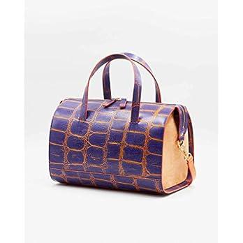 SOOFRE Berlin Croco Leder Bowler Bag SOPHIE Damen Umhängetasche Schultertasche Henkeltasche Handtasche Bowling-Tasche, Purpur Orange | Apricot